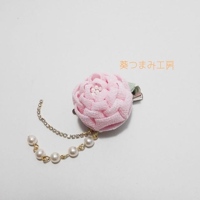 つまみ細工髪飾り 乙女椿とキラリチェーンのクリップ 桜色 浴衣