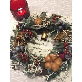 白い小枝のクリスマスリース(カウベル付き)