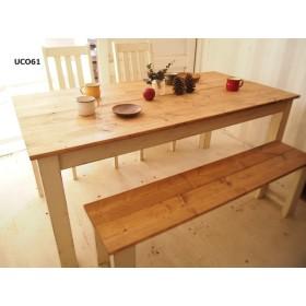 ダイニングテーブル【1700×800】(アンティーク加工・ミディアム×ホワイト)
