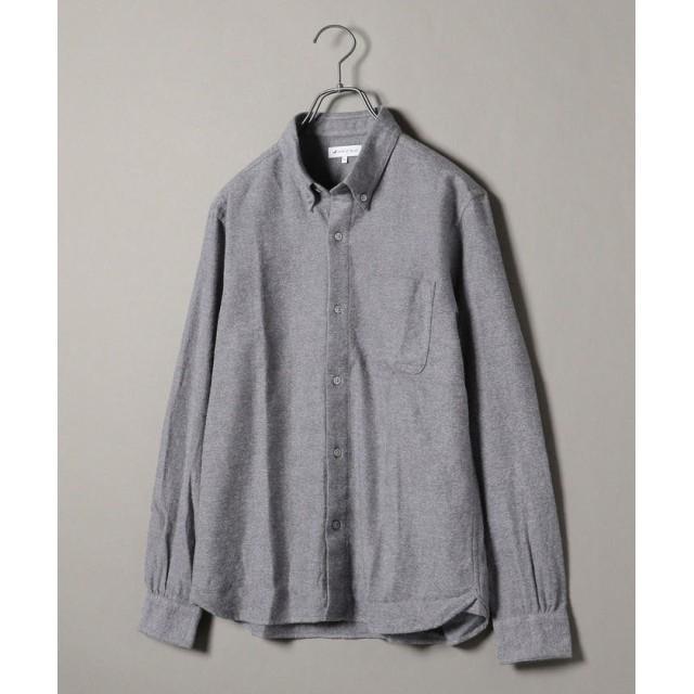 シップス SHIPS JET BLUE: ボタンダウン ネルシャツ ソリッド メンズ グレー MEDIUM 【SHIPS】