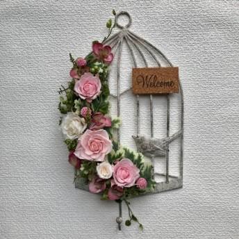 プリザーブドフラワー鳥かごワイヤー壁掛け*フォーレストグリーンの薔薇*Welcome*