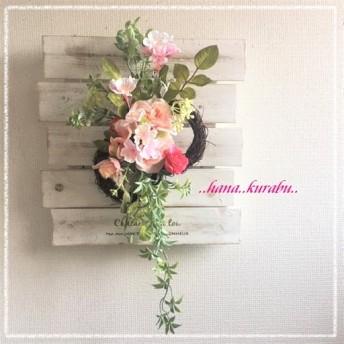 ◆長さ39㎝桜リース【L】◆造花アレンジ・壁掛けリース◆
