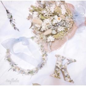 Anniversary threeset 〜花冠・ミニスワッグ・アルファベットオブジェ〜