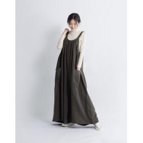【受注製作】綿麻キャザーたっぷりゆったりのサロペットパンツ新作