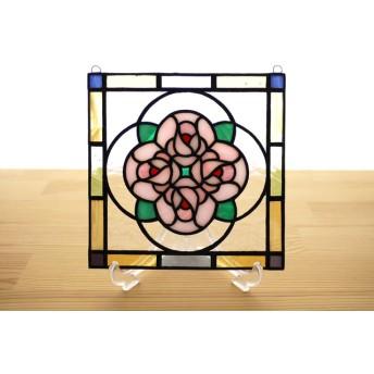 ステンドグラス ミニパネル ブーケ ピンク 15cm