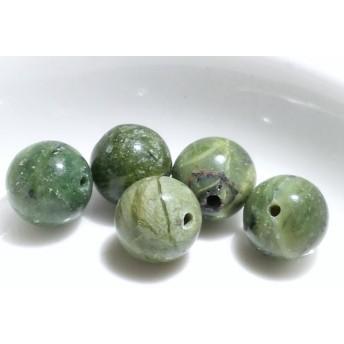 天然石ビーズ グリーンコモンパール 5個