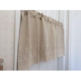 【カフェカーテン】 綿麻ナチュラルで、裾に刺繍の素敵なカーテン