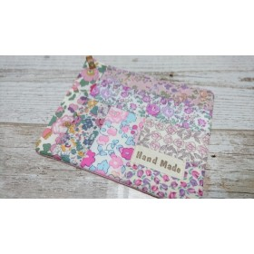 【sale】リバティパッチ*カフェオレマット*ピンク&パープル