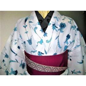 春夏着物(綿35%ポリエステル65%ブルー小花)単衣着物de浴衣洗える着物 再販はありません