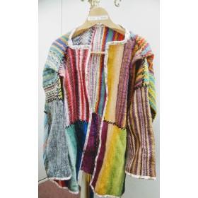 モザイクカラーの毛糸のセーター☆ローズ&ワインカラー