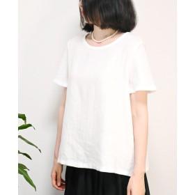 【セミオーダー】フレンチリネン100%ベルスリーブブラウス(ホワイト)