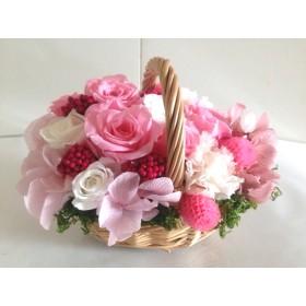 豪華なフレンチバスケットアレンジ Flavie(フラヴィ)ピンク プリザーブドフラワー ウェディング プレゼント 母の日 結婚祝い 誕生日 新築祝い