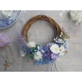 Romantic blue*受注制作*ハーフムーンリース*プリザーブドフラワー*リース*お花*ギフト*結婚祝い*春*お祝い