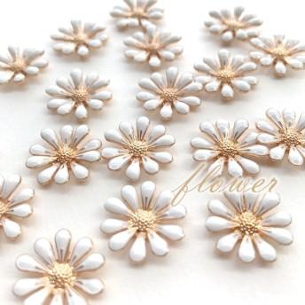 8個 flower フラワーパーツ 花 カボション ホワイト