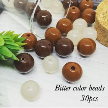 Bitter Color roundbeads 3color 30pcs*アクリル ラウンド ブラウン