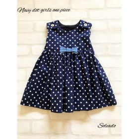 navy dot girls one piece