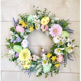 No. wreath-15000/★スプリング・リース(12)イースターリース (イースターエッグ&アヒル)38cm・アートフラワー造花リース