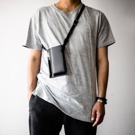 本革スマートフォンポケットバッグ ショルダーバッグ スマホ入れ キャッシュレス 電子マネー 仮想通貨【ブラック】
