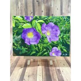 アクリル画紫のペチュニア