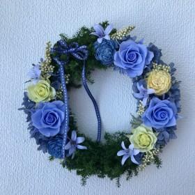 プリザーブドフラワーリース*薔薇、紫陽花、ヒムロスギ
