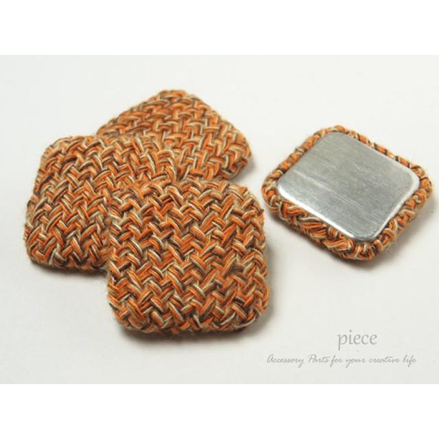 ツイード カボション スクエア 25mm オレンジ 4個 ◆ 裏平面 くるみボタン 貼り付けパーツ ACC-CBC-1594