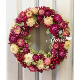 ピンクのお花いっぱいリース ️(25cm)