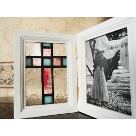 ステンドグラス アンティーク風 十字架(クロス)フォトフレーム 木枠/アイボリー(W5)