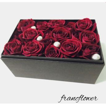 【生花】大人シック 赤いバラのフラワーボックス