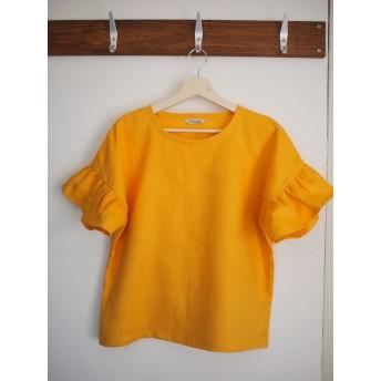 hi様用リネンひまわり色のティアード袖プルオーバー / ドロップショルダー / 半袖