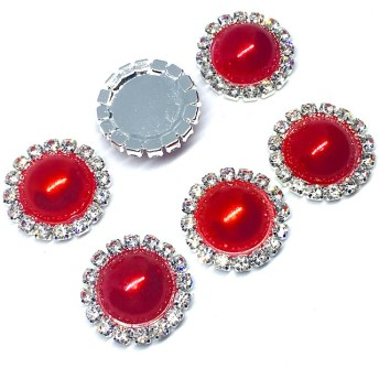 6個 センターパーツ L(20mm) キラキラ パールカボション丸型デコパーツ 赤