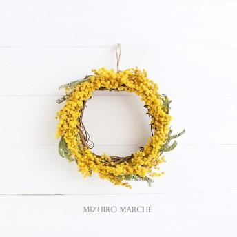 ミモザのリース simple mimosa wreath