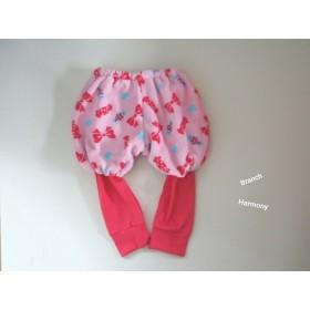 スパッツ付きかぼちゃパンツ ☆ モコモコ キャンディー&リボン × ローズ (90)