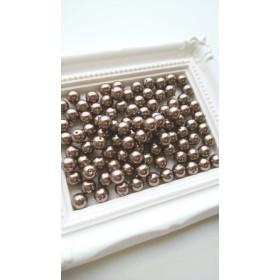 【6mm 100個】樹脂パール 丸玉 両穴(モカ)