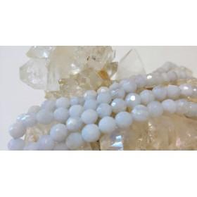 25#天然石ブルーレースアゲート穴あき、珠カット4ミリビーズ一連 ×1本