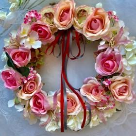 ピンクのバラのふんわりリース(Lサイズ)