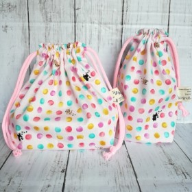 お弁当袋&コップ袋セット・猫と水玉(ピンク)【入園入学・女の子】