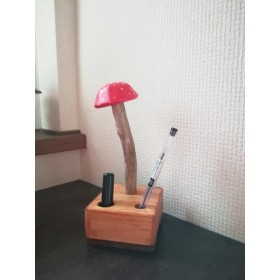 【流木】きのきのこハンコ立てペン立て赤3【送料無料】