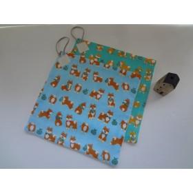 柴犬ループ付きパイルガーゼハンカチ大2枚set