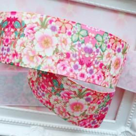 【8079】2m350円 38mm幅 グログランリボン 和柄 和風 花柄 桜 着物