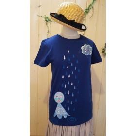 女性Lサイズ☆雨の日も楽しく♪テルテル坊主と雨雲さんの☆手描きTシャツ♪
