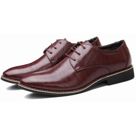 メンズ 革靴 靴 ストレートチップ レースアップ ロングノーズ ドレスシューズ フェイクレザー スムースレザー 軽量 通勤 (29.0, ワインレッド)