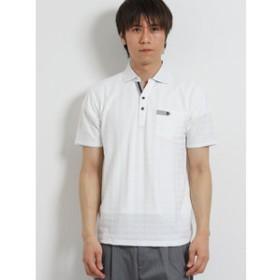 【TAKA-Q:トップス】DRY 千鳥ジャガード スキッパー半袖ポロシャツ