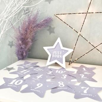 オールグレーカラー 星型額つき 月齢カード マンスリーカード
