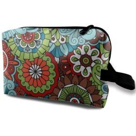 花と葉 渦 カラフル 化粧品袋 トラベルコスメティックバッグ 防水 大容量 荷物タグ付き 旅行収納ポーチ アレンジケース パッキングオーガナイザー 出張 旅行 衣類収納袋 スーツケース整理 インナーバッグ メッシュポーチ 収納ポーチ