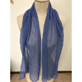 手編みのストール 青紫 引き揃え糸使用