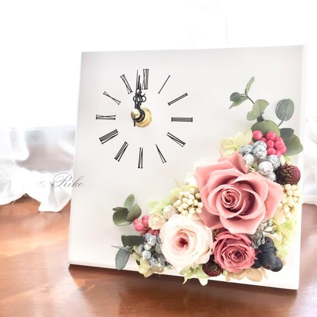 花時計*プリザーブドフラワー アンティークアレンジ ナチュラルシャビー 結婚祝い 母の日