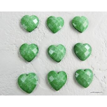 【10個】グリーン緑 ハート アクリル カボションパーツ (クリスタルカット加工)CB863-A