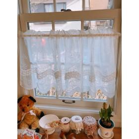 薔薇リボン刺繍*裾柄カフェカーテン
