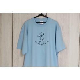 極厚ビッグTシャツ★綿100%★ハシビロコウ★水色XL