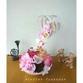 コップから注がれるピンクのお花(ちょっと小さめ)ご結婚祝い 誕生日 受付花 贈り物にも